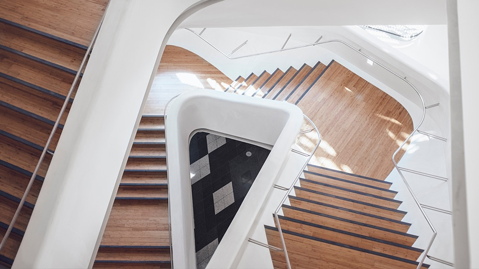 Aerial view of geometric and wood staircase